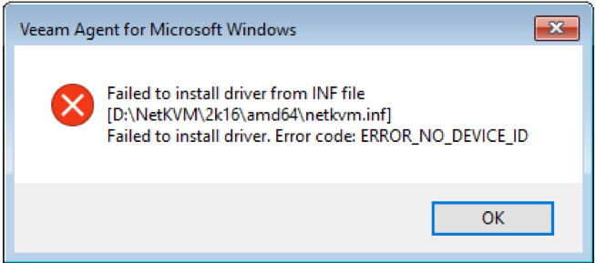 KB2856: ERROR_NO_DEVICE_ID received while trying to load a driver